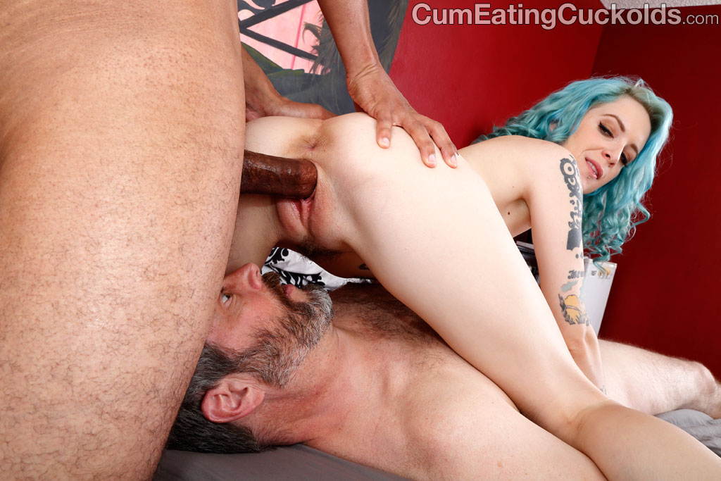 Swinging slutwife bound cum eating husband
